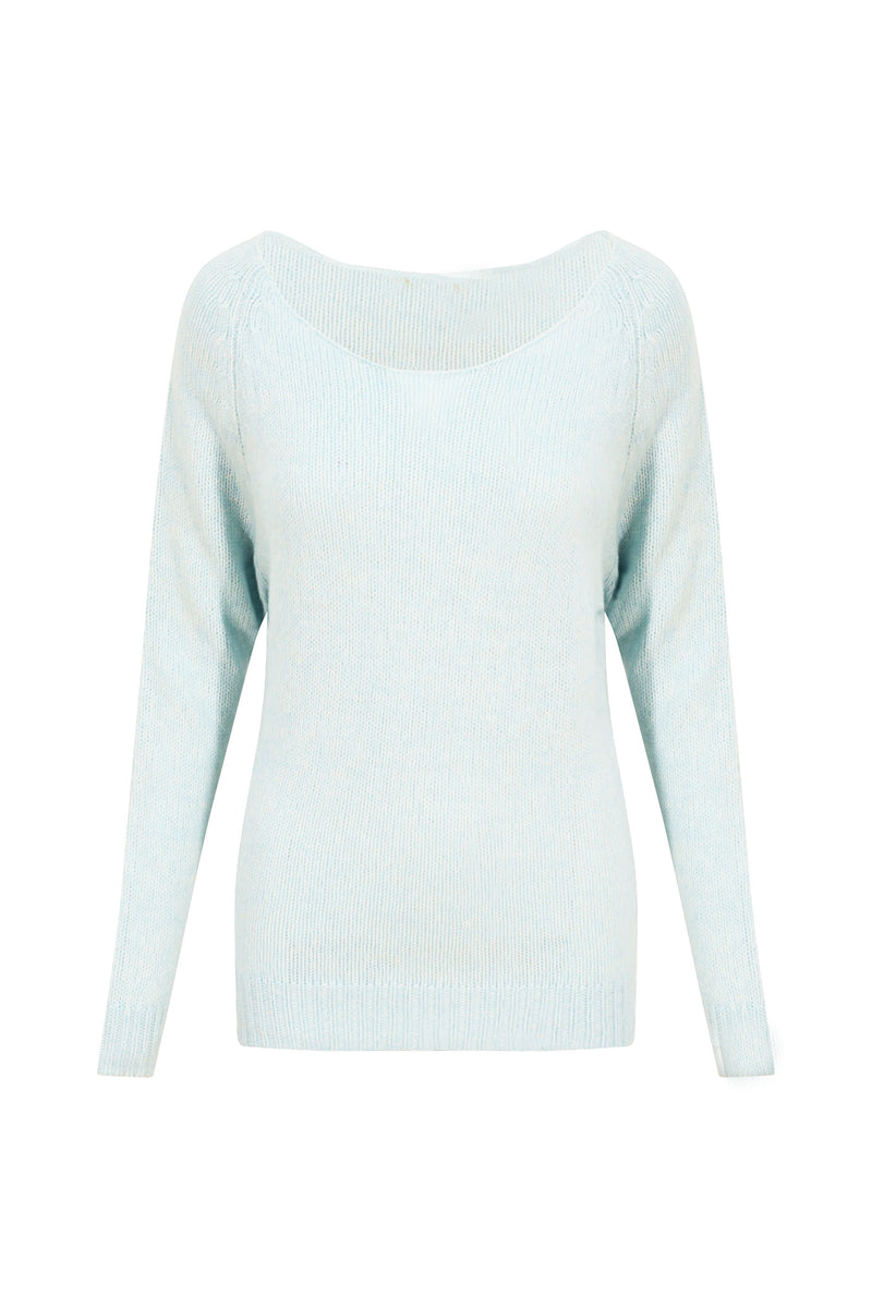 Ice Blue Off-the-Shoulder 100% Cashmere Jumper