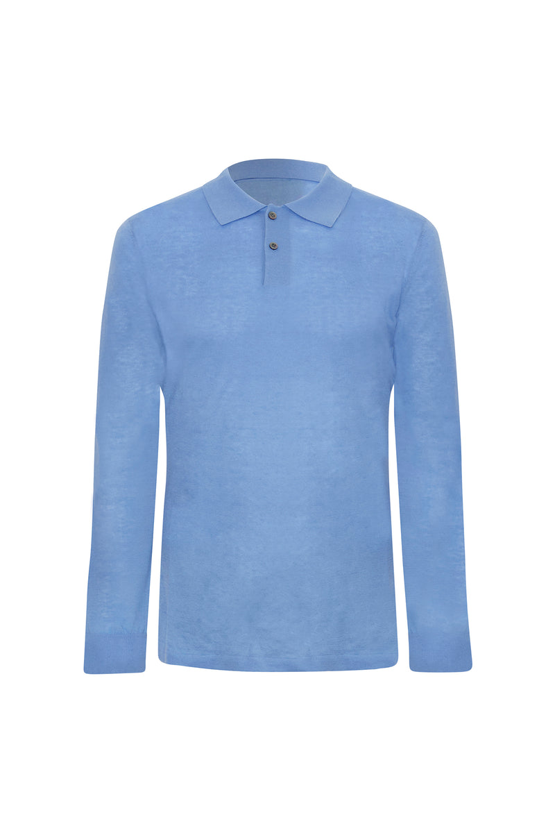 Blue Cashmere Long Sleeves Polo Shirt