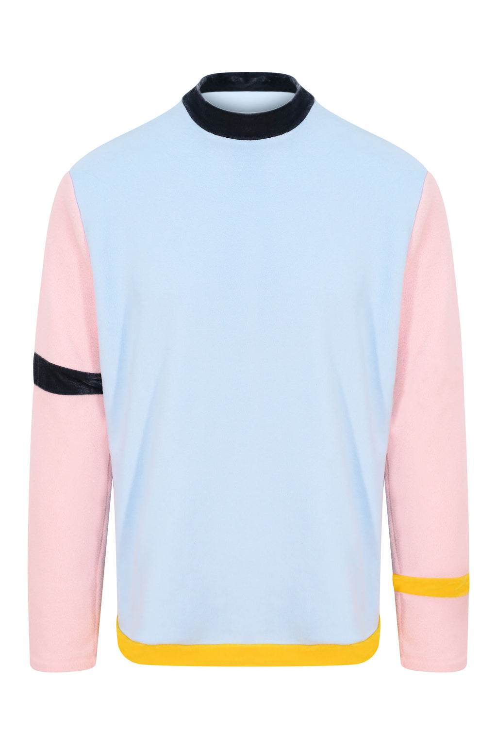 Unisex Blue and Pink Colour Block Fleece