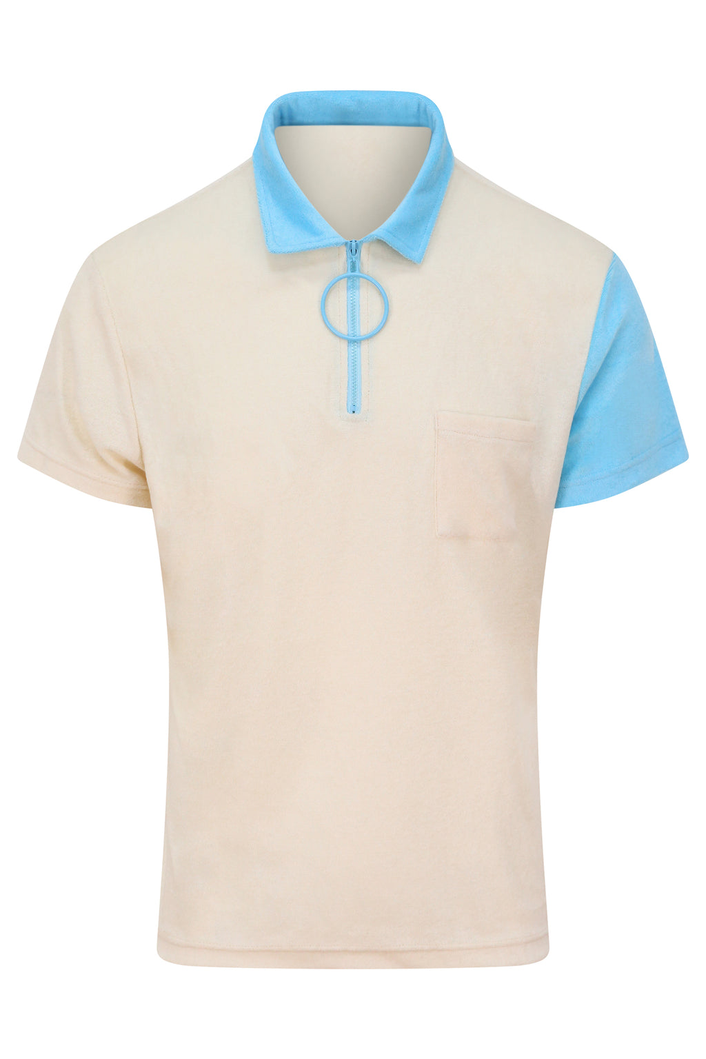Unisex Cream and Blue Zip Polo