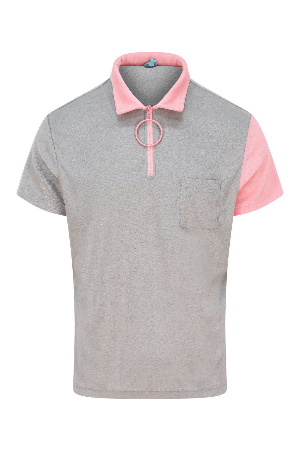 Unisex Grey and Pink Zip Polo