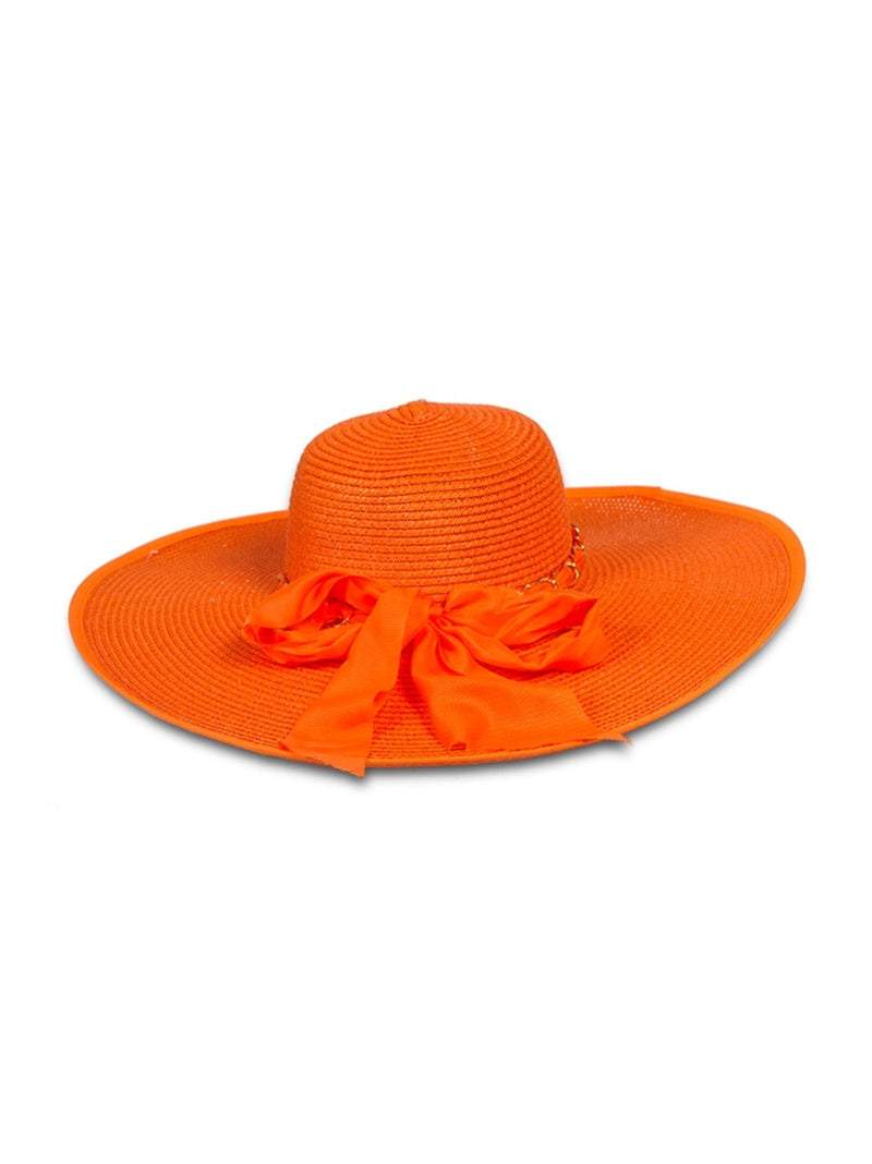 Wide Brim Sun Hat with Bow Detail