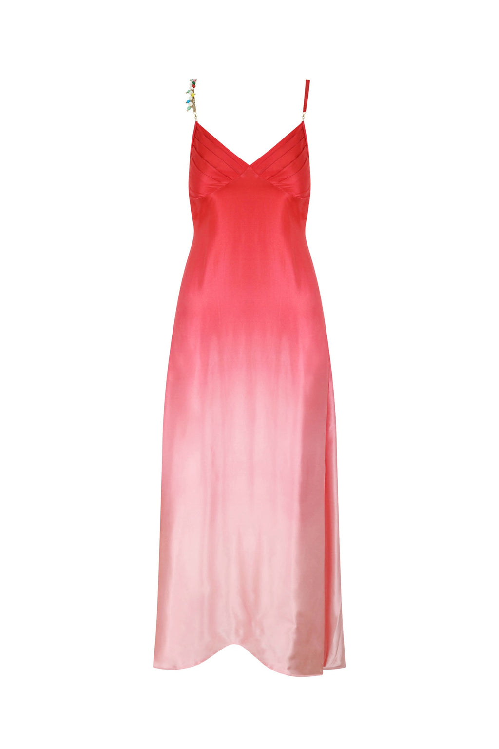 Silk Bead Maxi Dress Pink