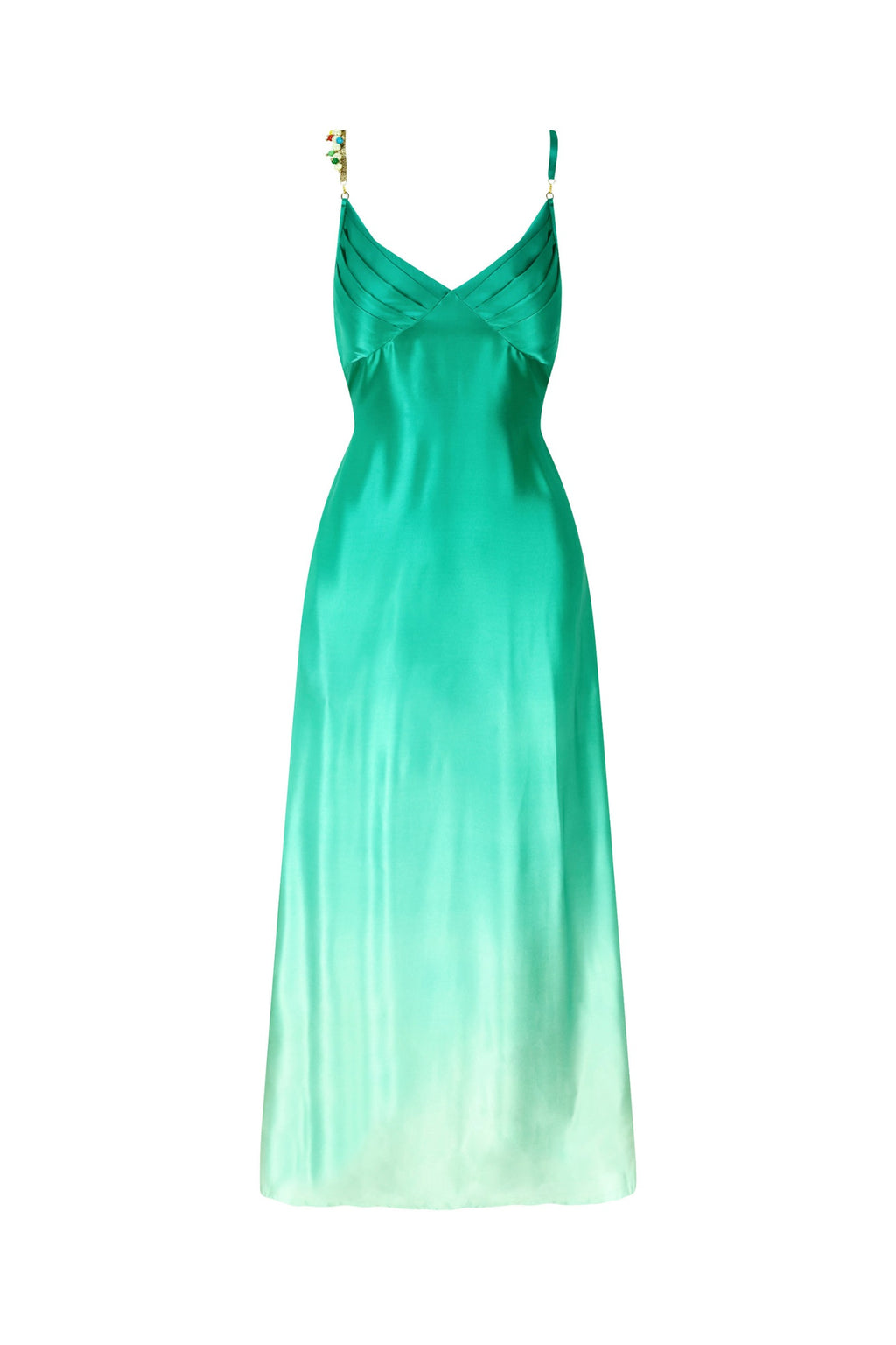 EDINA SOFT GREEN BEADED SILK MAXI DRESS