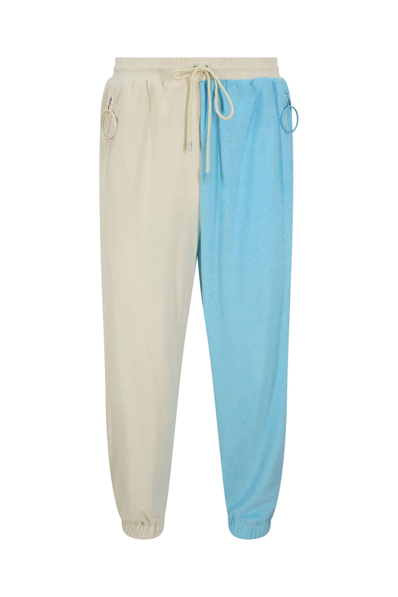 Unisex Cream and Blue Track Trousers