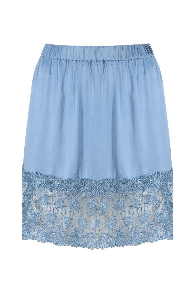 Silk Skirt with Lace Trim