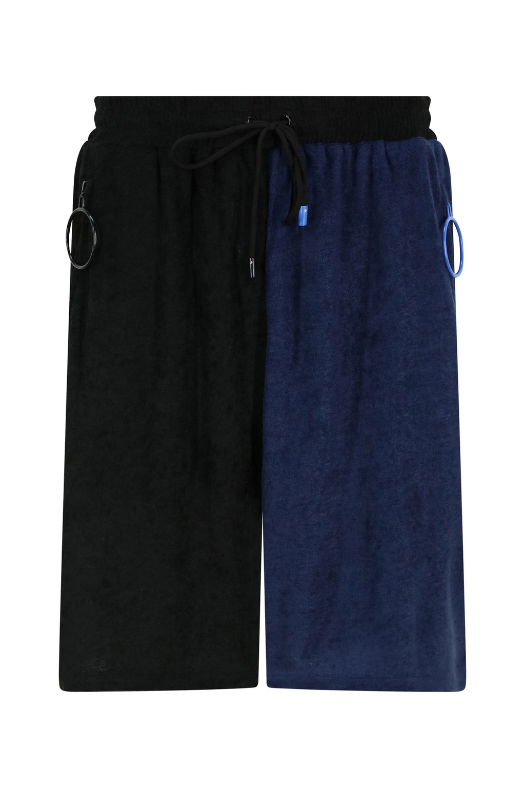 Unisex Black and Navy Terry Shorts