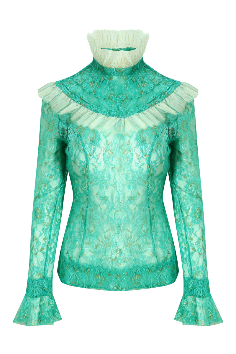 Teal Sheer Lace Victorian Top