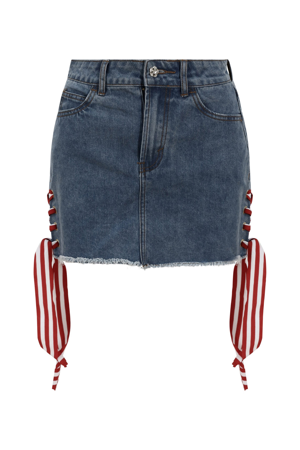 Blue Side Lace-up Denim Mini Skirt