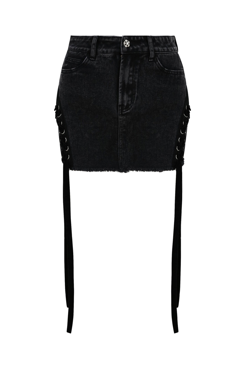 Black Side Lace-up Denim MIni Skirt