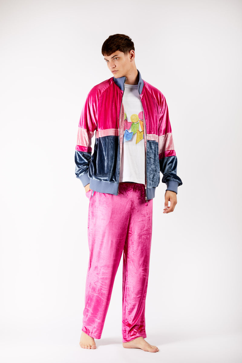 Adrian Unisex Pink Velour Tracksuit Trousers Rich Fashion