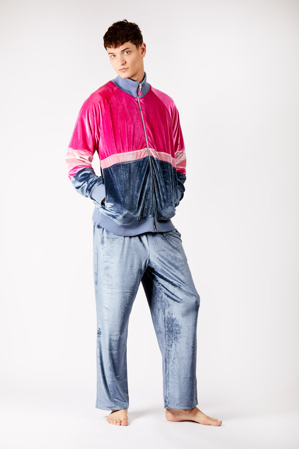 Adrian Unisex Pink and Grey Velour Tracksuit Jacket