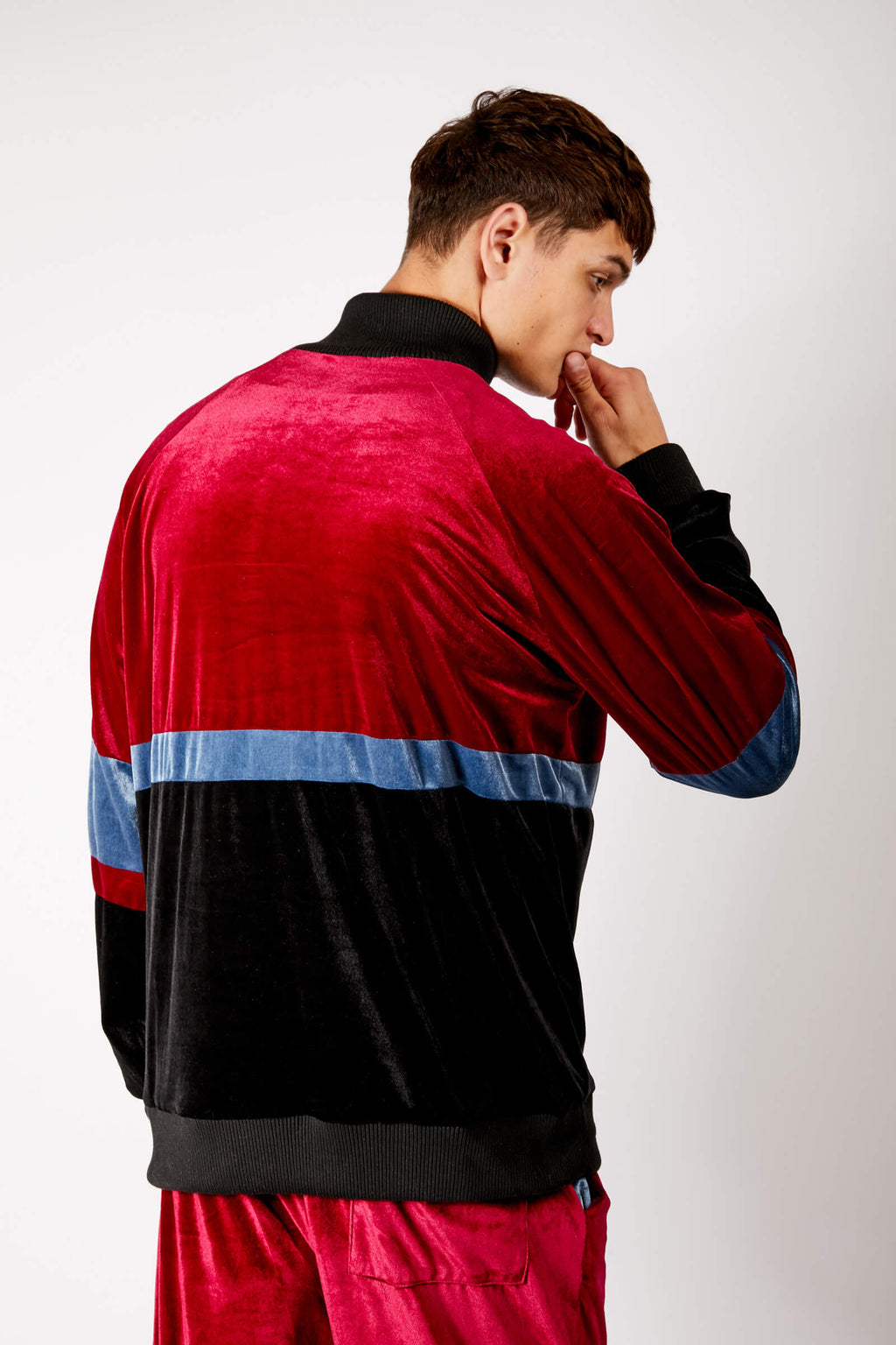 Adrian Unisex Red and Black Velour Tracksuit Jacket