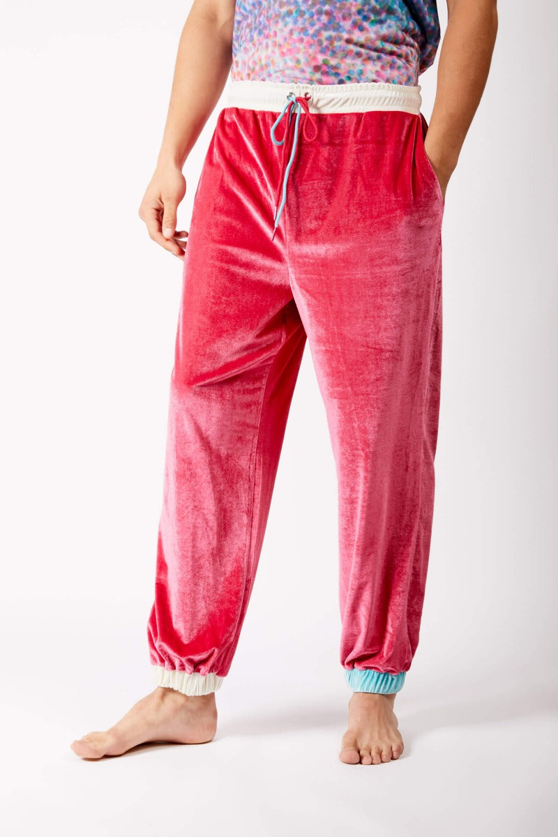 Adrian Unisex Raspberry Pink Velour Tracksuit Trousers Rich Fashion