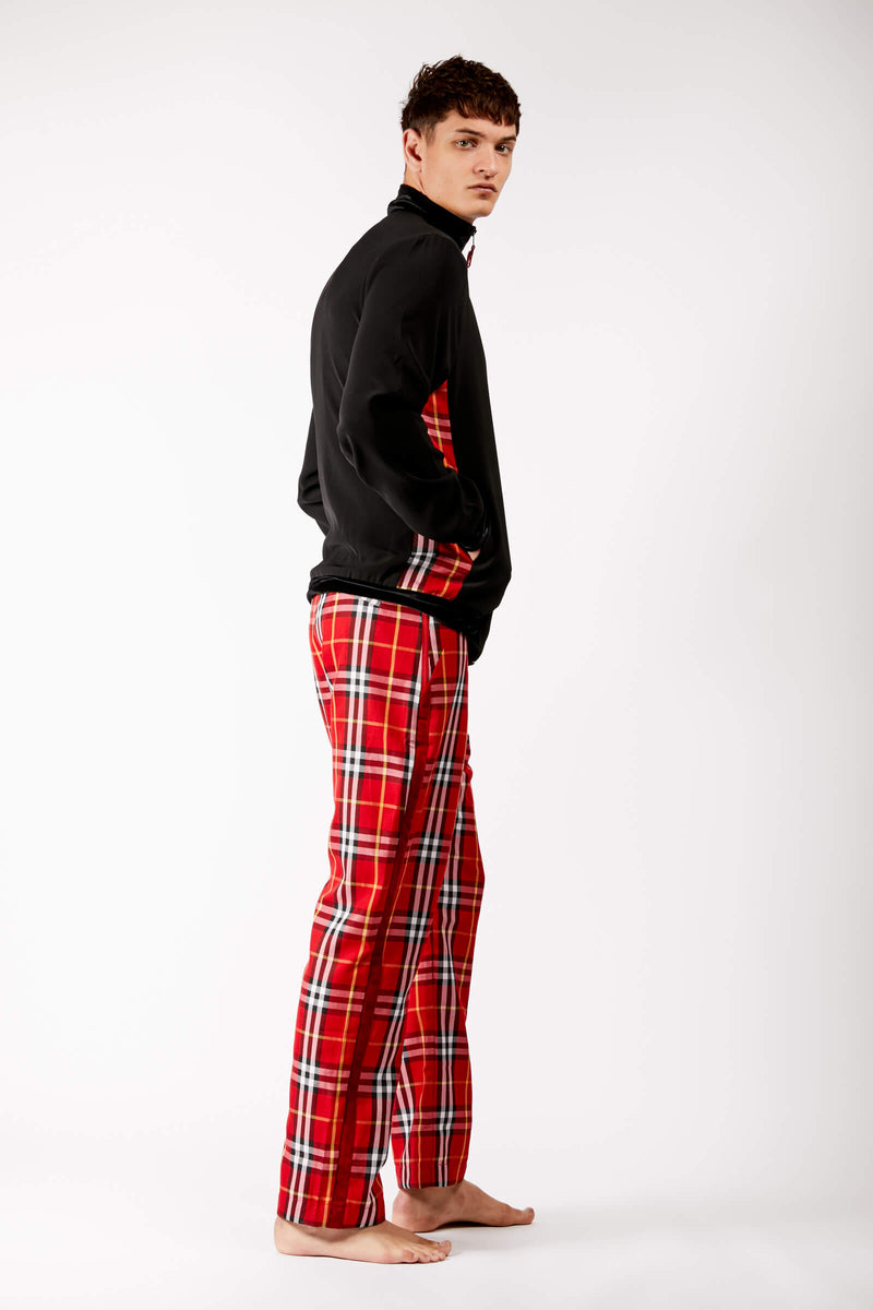 Adrian Schachter Bomber Jacket with Tartan Detail