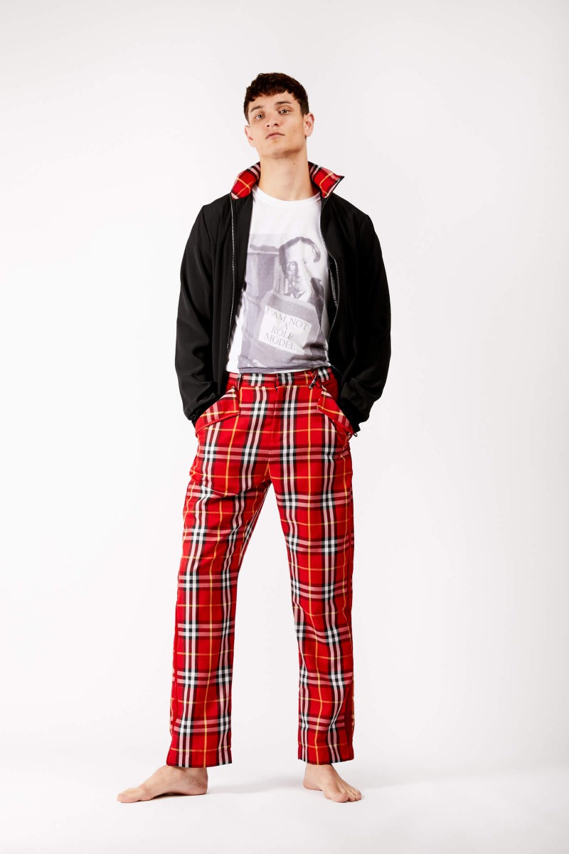 Adrian Schachter Red Tartan Trousers