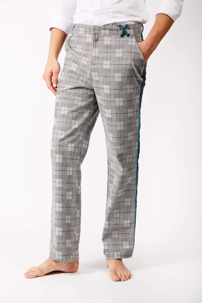 Adrian Unisex Grey Checkered Suit Trousers