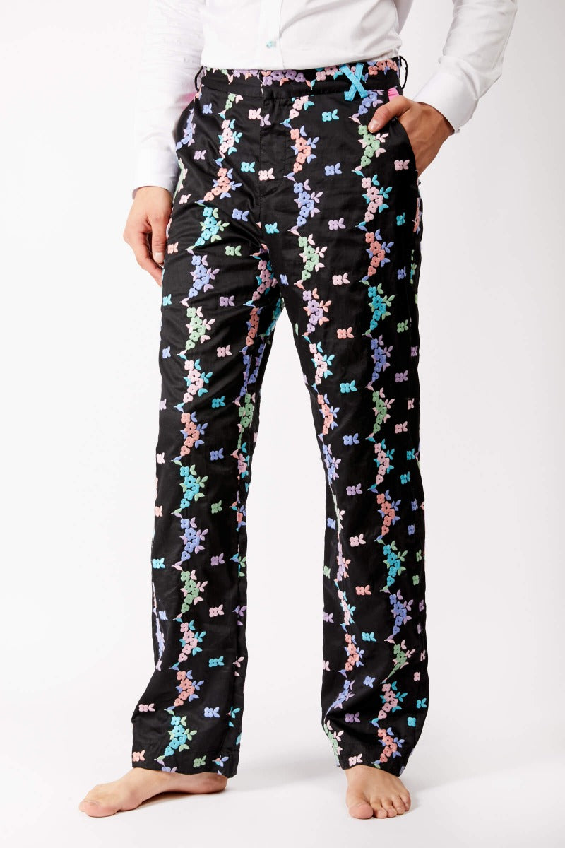 Adrian Unisex Floral Embroidered Suit Trousers