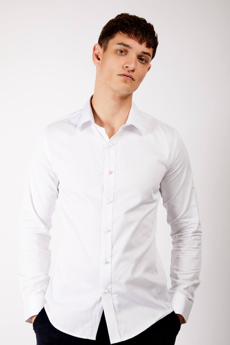 Adrian Unisex Classic White Button Up Shirt with Odd Buttons