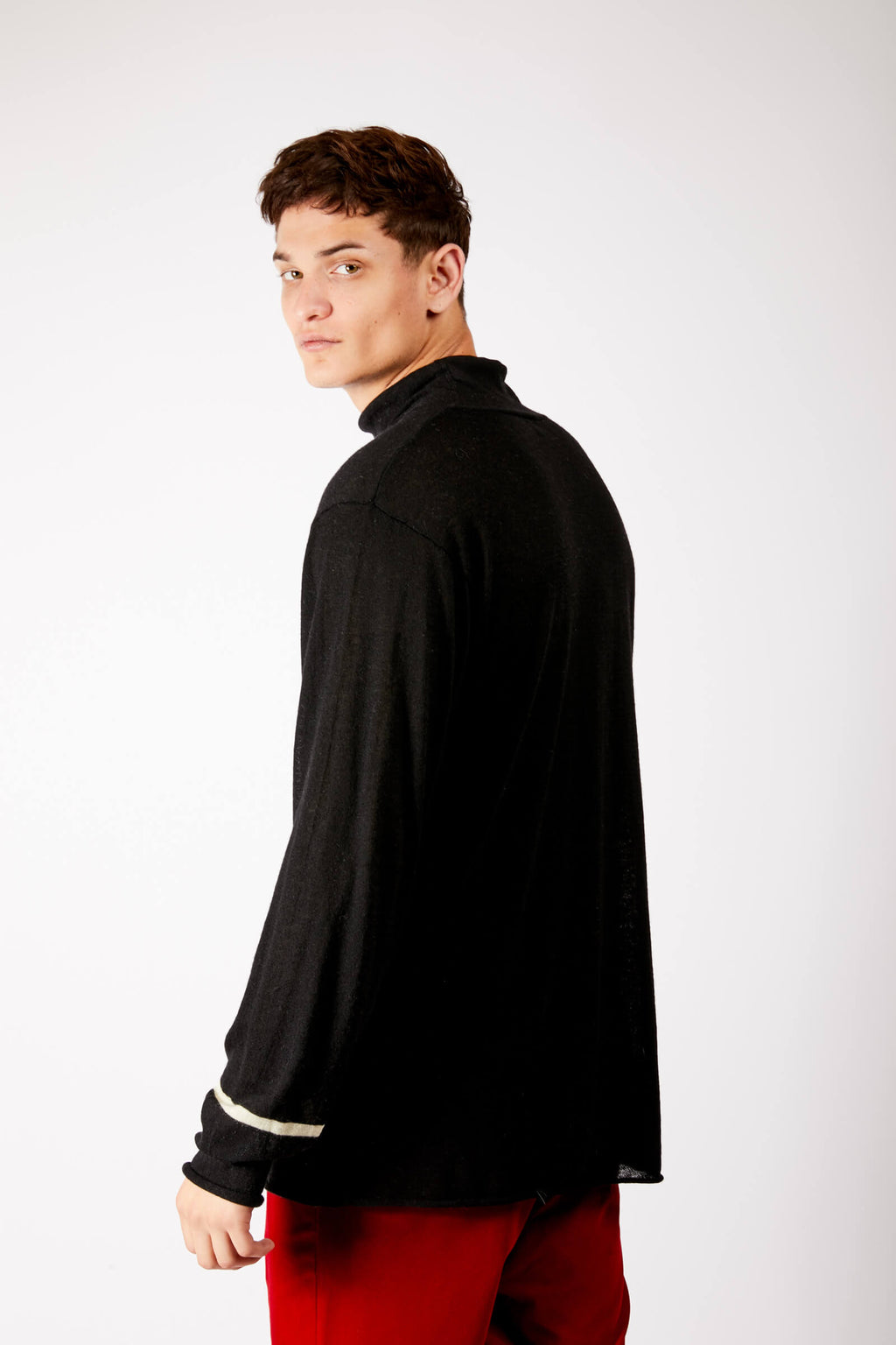 Adrian Unisex Black High Neck Cashmere Jumper