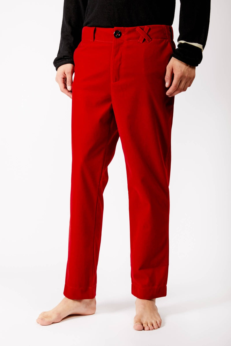 Adrian Unisex Red Velvet Trousers