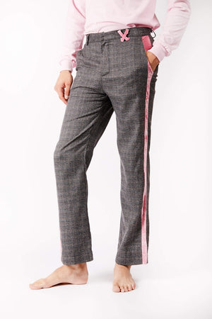 Adrian Unisex Checkered Trousers with Pink Side Stripe