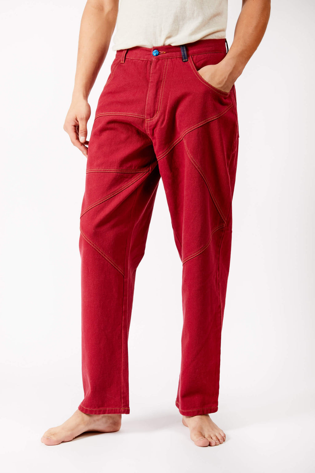 Adrian Schachter Red Denim Trousers