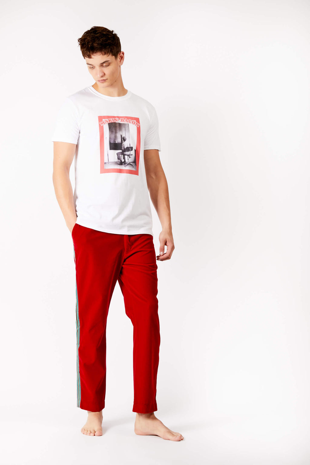 Adrian Unisex Red Striped Velvet Trousers