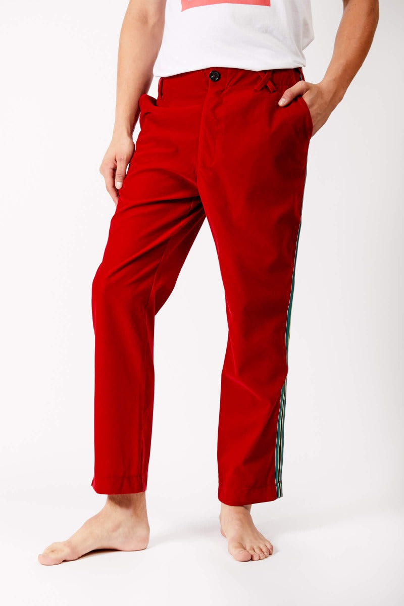 Red Velvet Trousers With Satin Stripe by Adrian Schachter