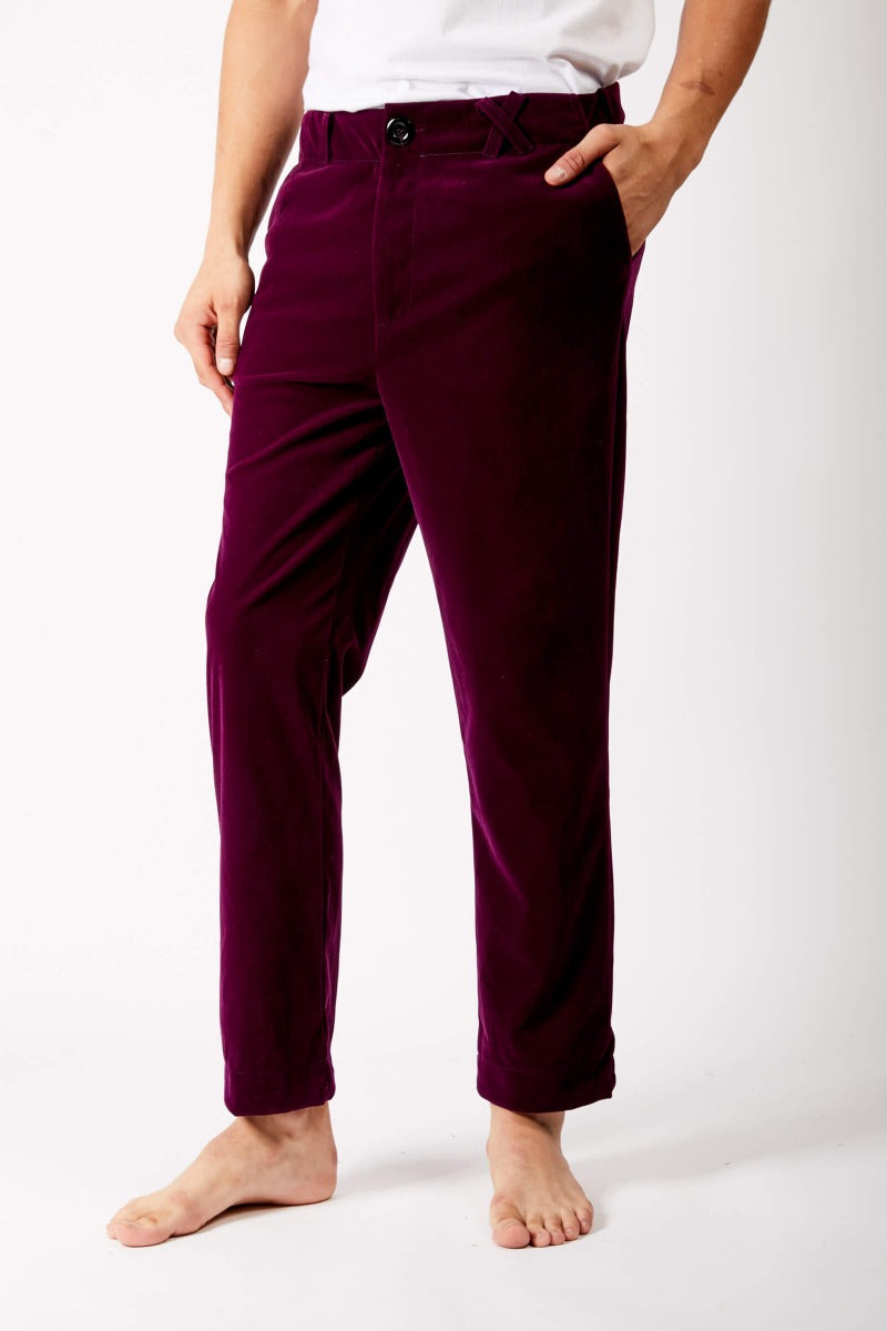 Purple Velvet Trousers by Adrian Schachter
