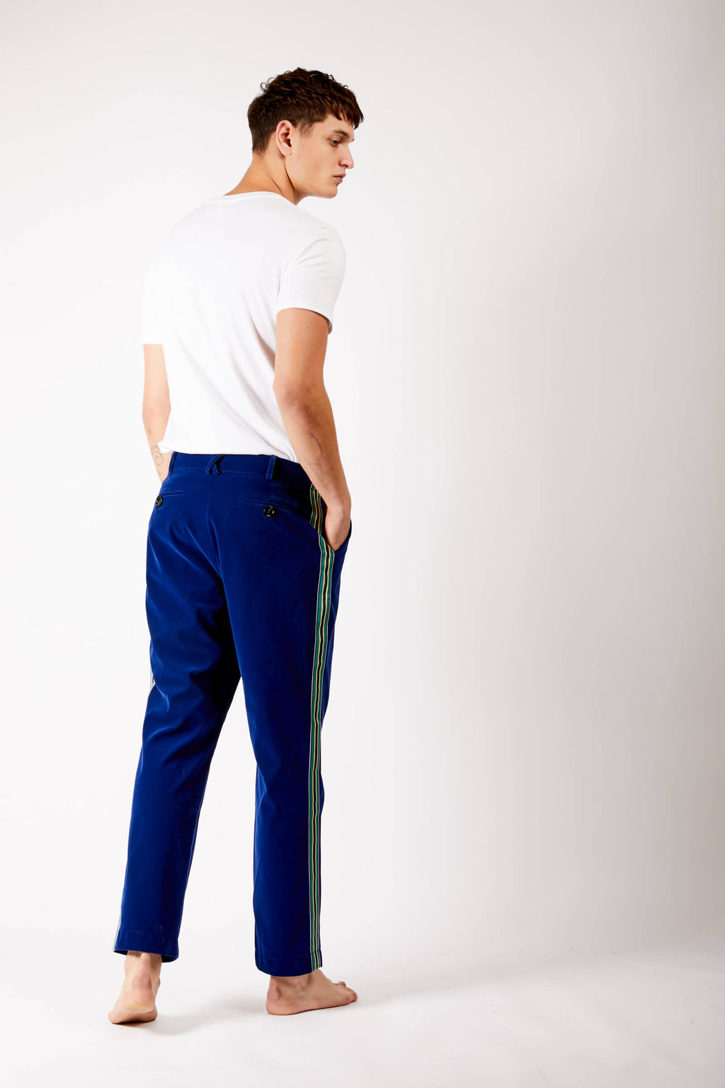 Adrian Unisex Blue Velvet Trousers With Side Stripe