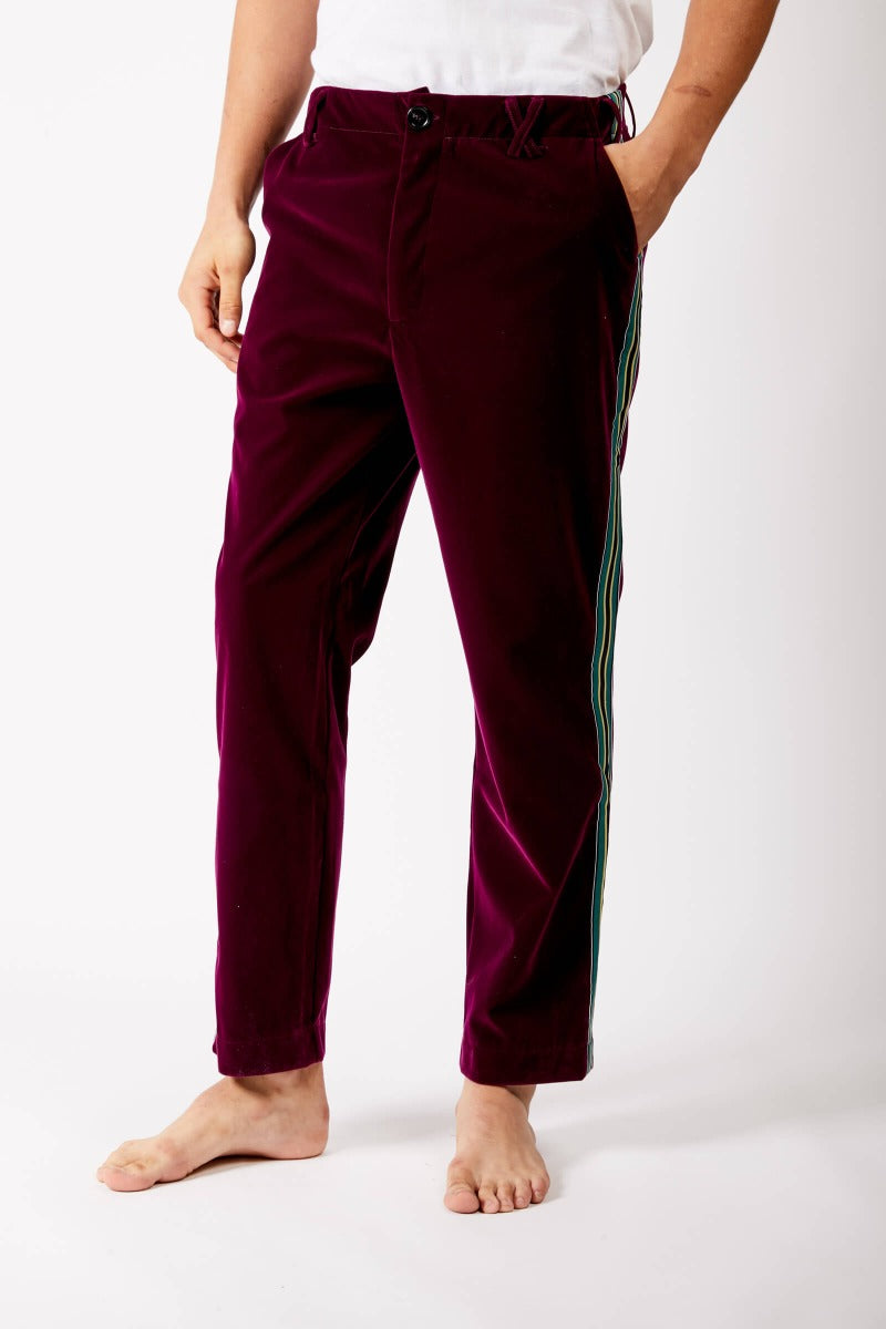 Purple Velvet Trousers With Satin Stripe by Adrian Schachter