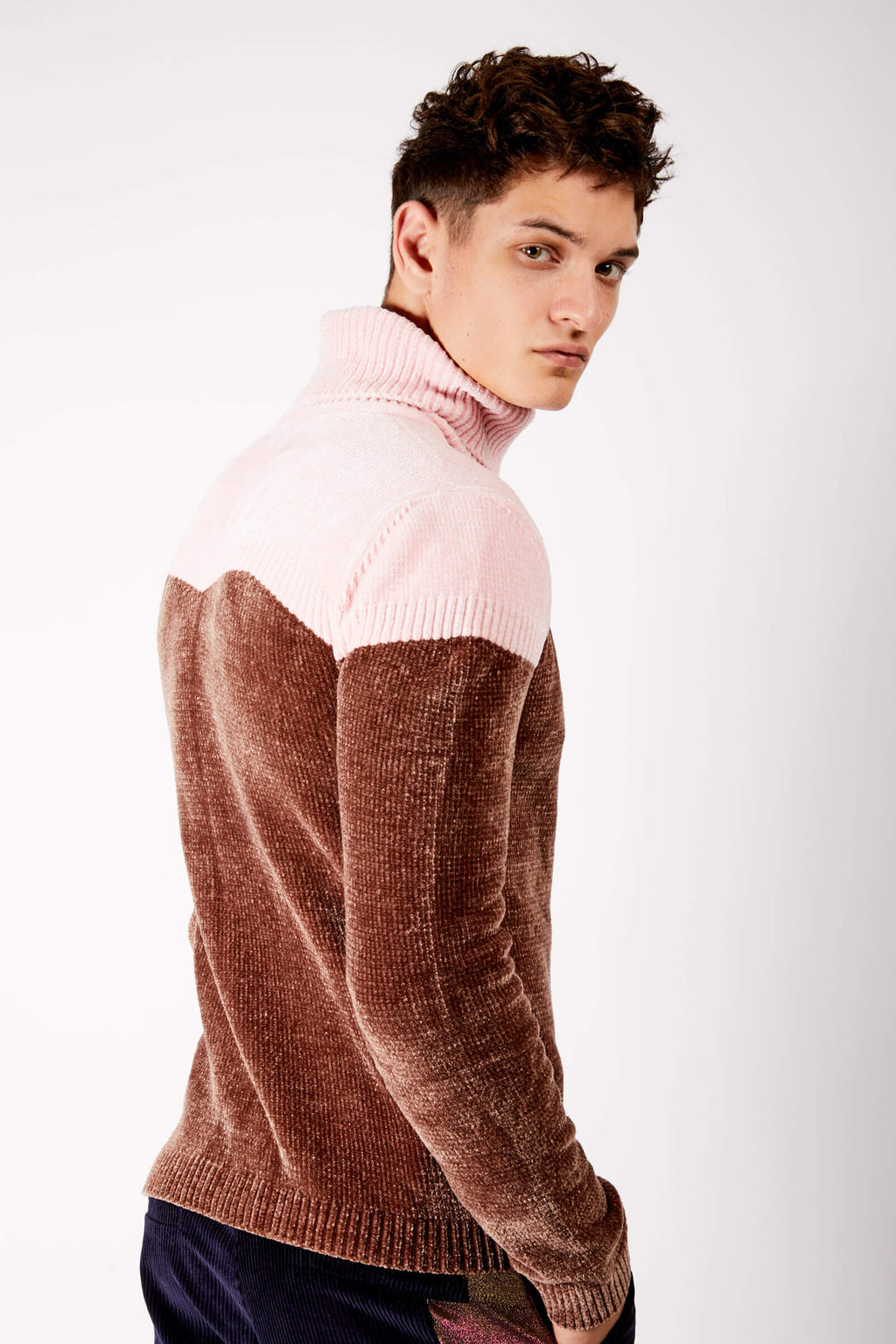 Adrian Unisex Pink and Brown Chenille Turtleneck Sweater