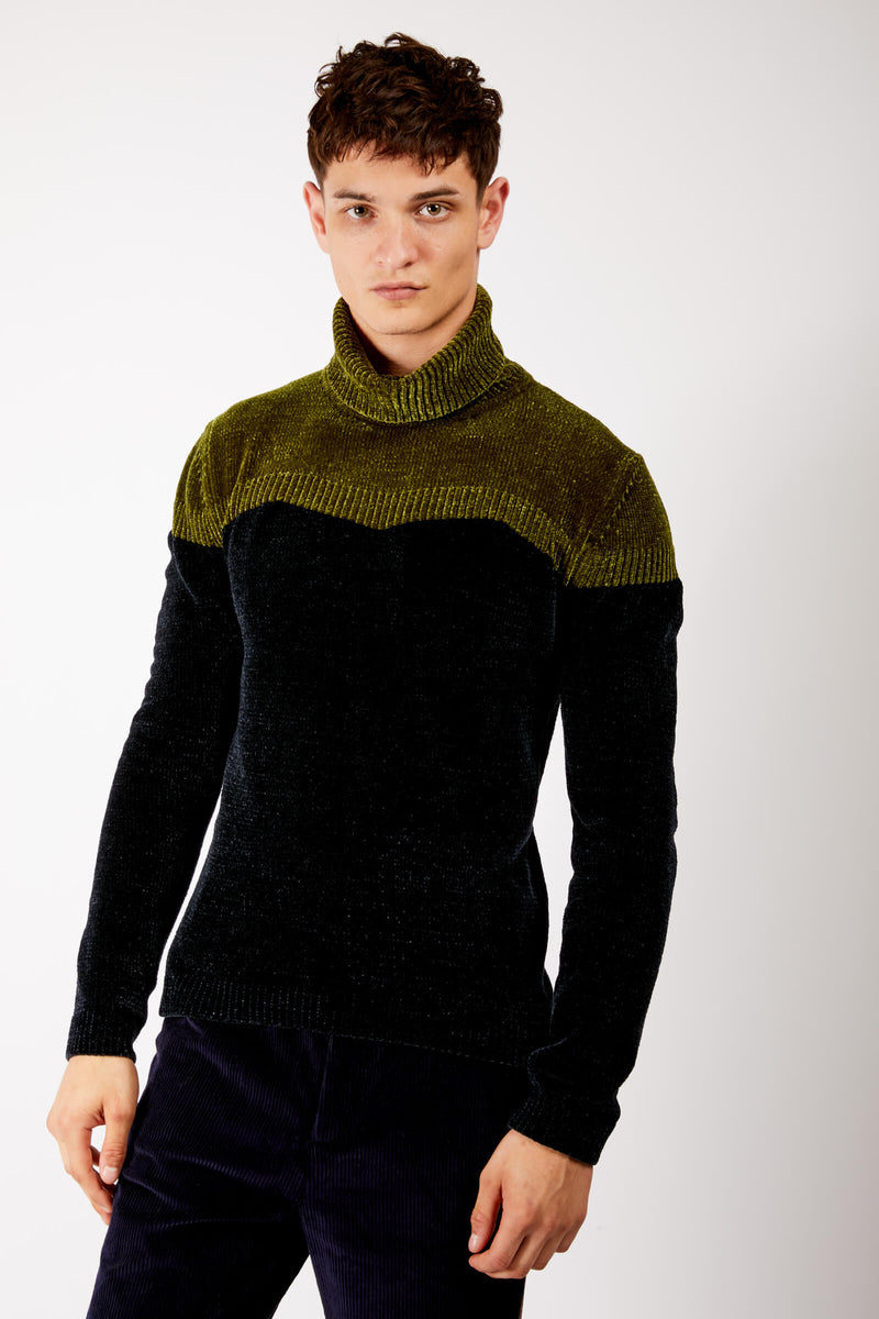 Adrian Unisex Black and Green Chenille Turtleneck Sweater