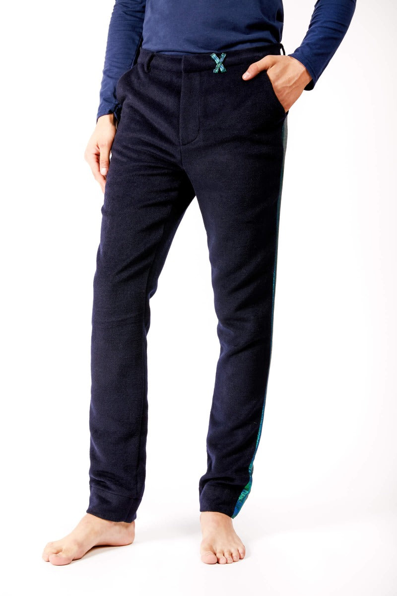Adrian Unisex Navy Trousers with Metallic Side Stripe