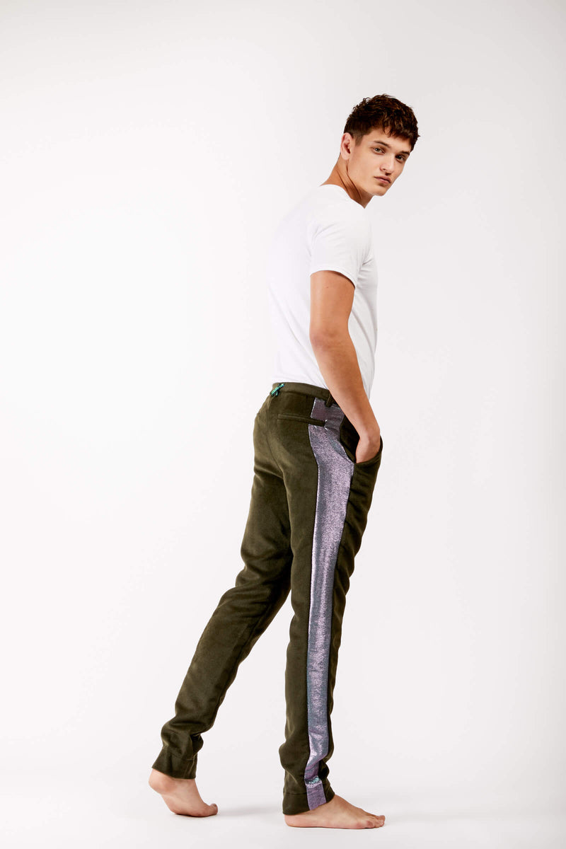 Adrian Unisex Green Trousers with Metallic Side Stripe