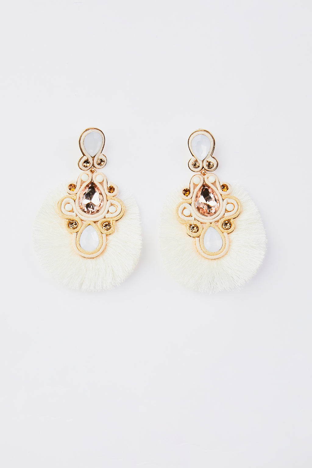 Crystal Teardrop Tassel Fringe Earrings