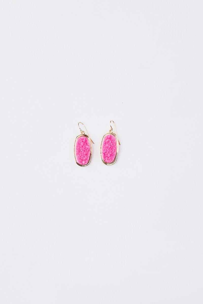 Oval Druzy Dangle Earrings