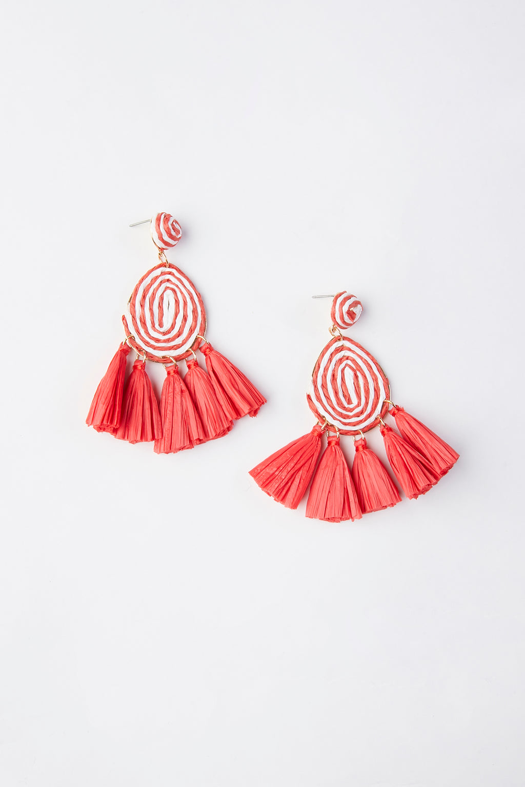 Raffia Fan Tassel Dangle Earrings