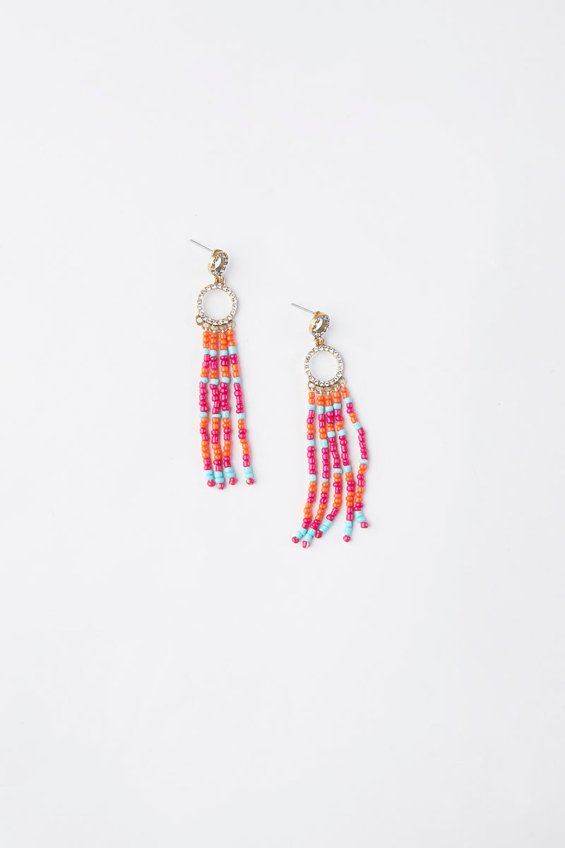 Bead Tassel Drop Earrings