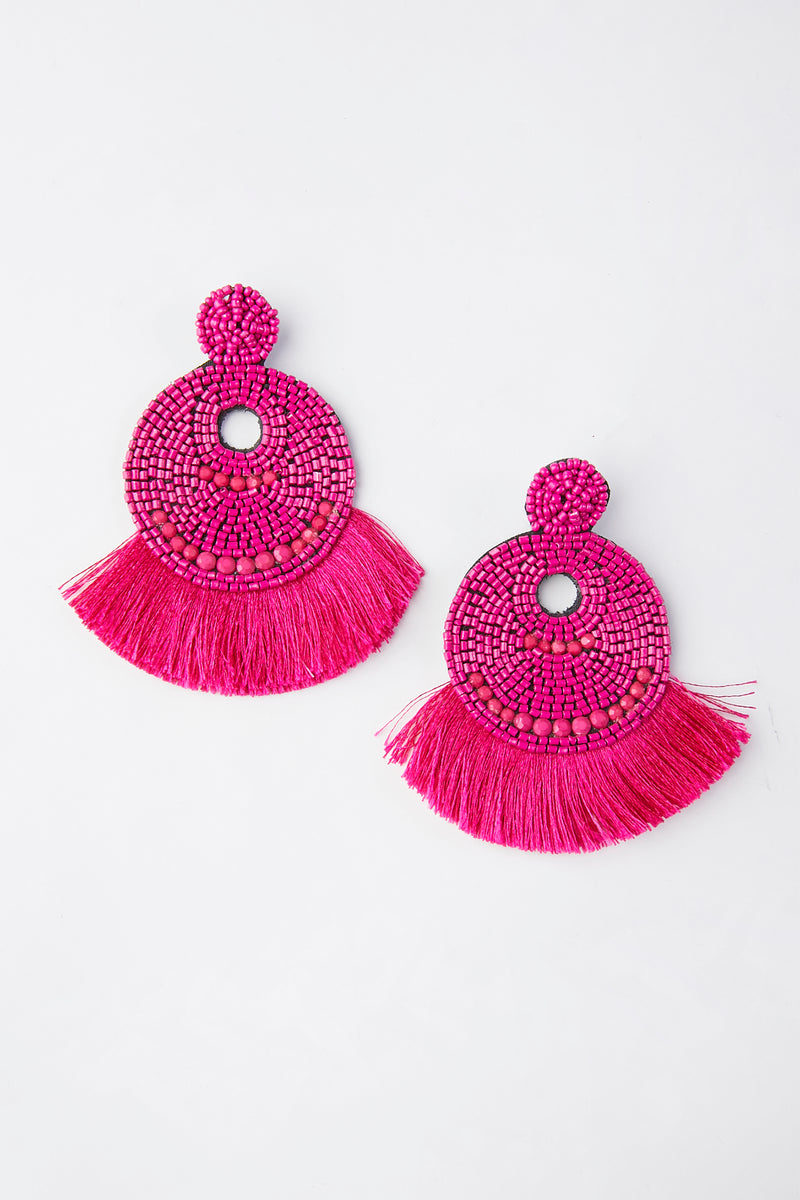 Seed Beaded Circular Fan Tassel Earring