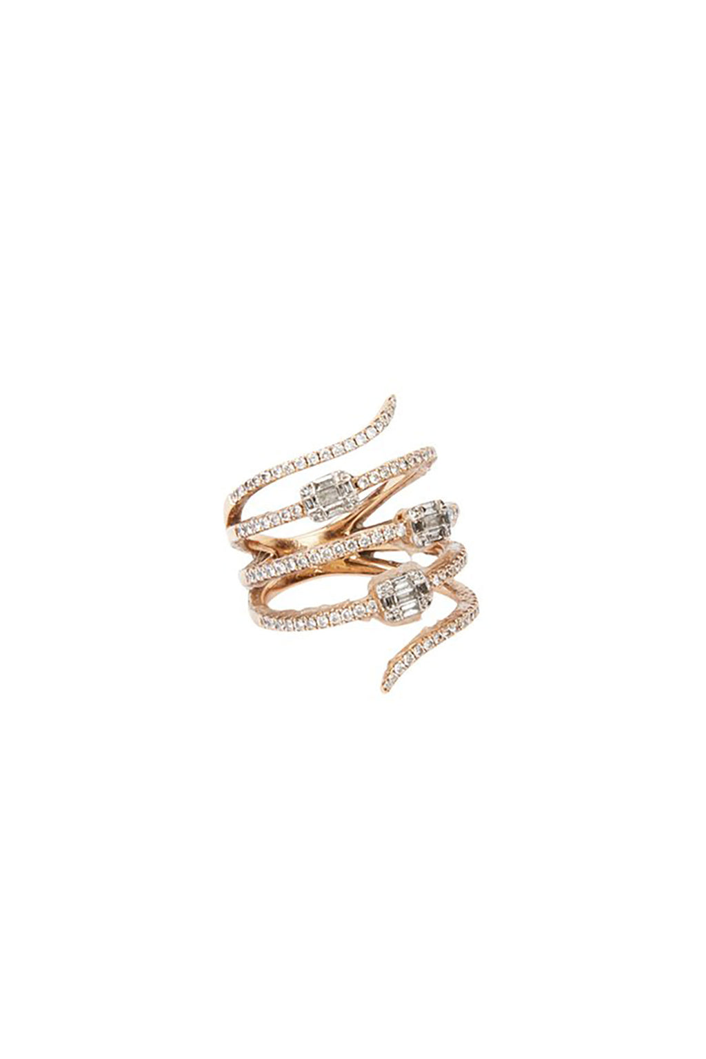 18KT Rose Gold Diamond Spiral Ring