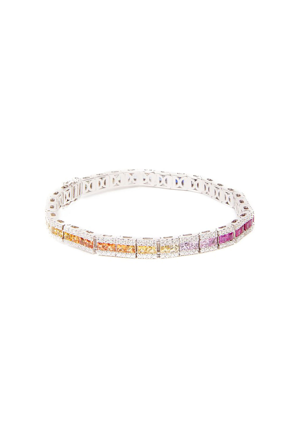 18KT White Gold Rainbow Sapphire and Diamond Tennis Bracelet
