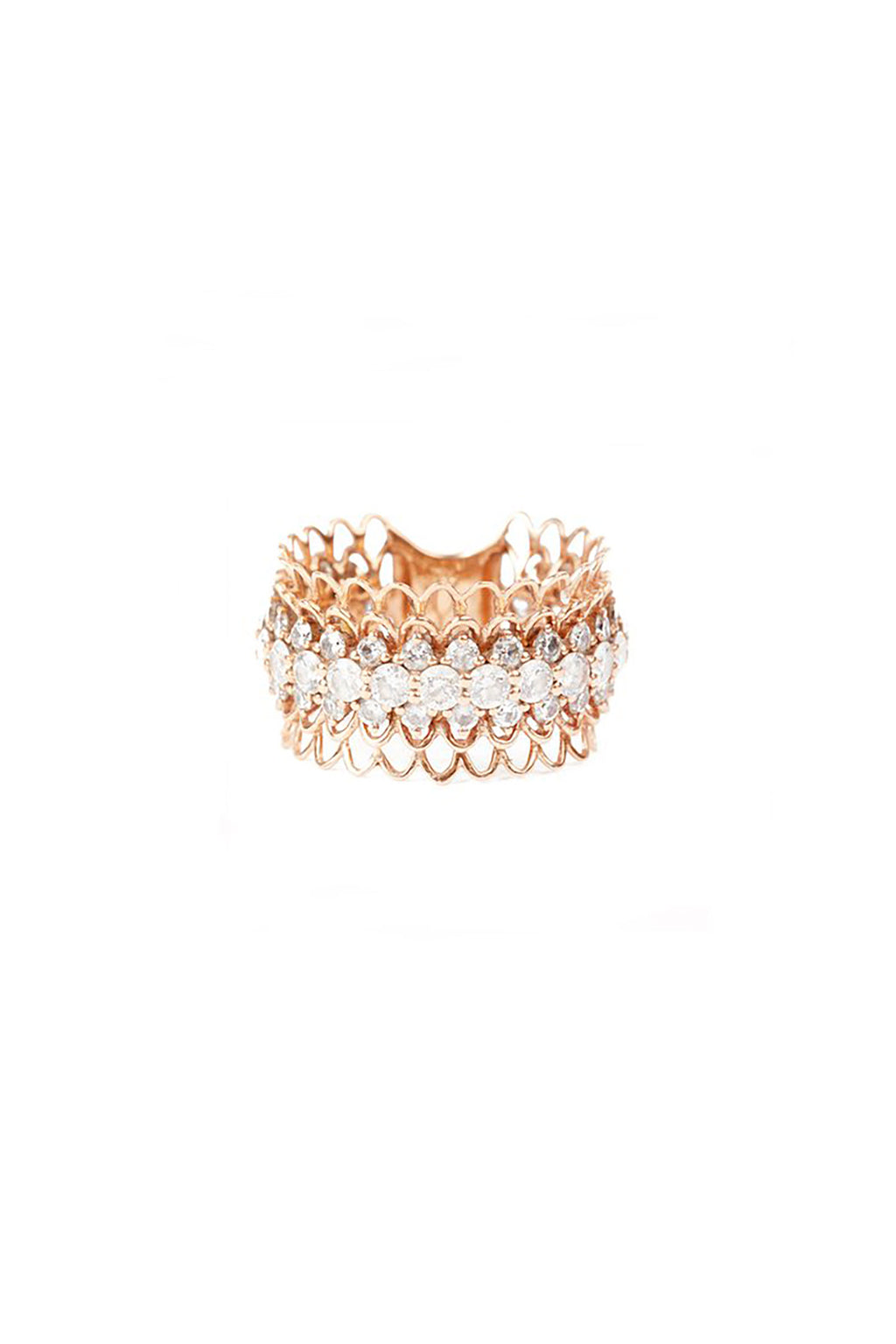 Thick 18KT Rose Gold Layered Lace 61 Diamonds Ring