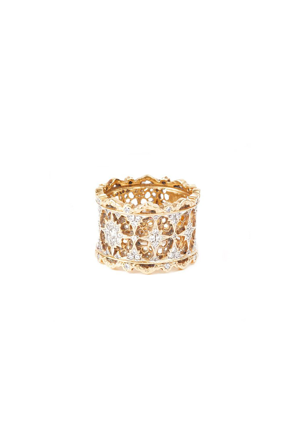 Thick 18KT Rose Gold Cutout Detail Ring in Layered Filagree Design