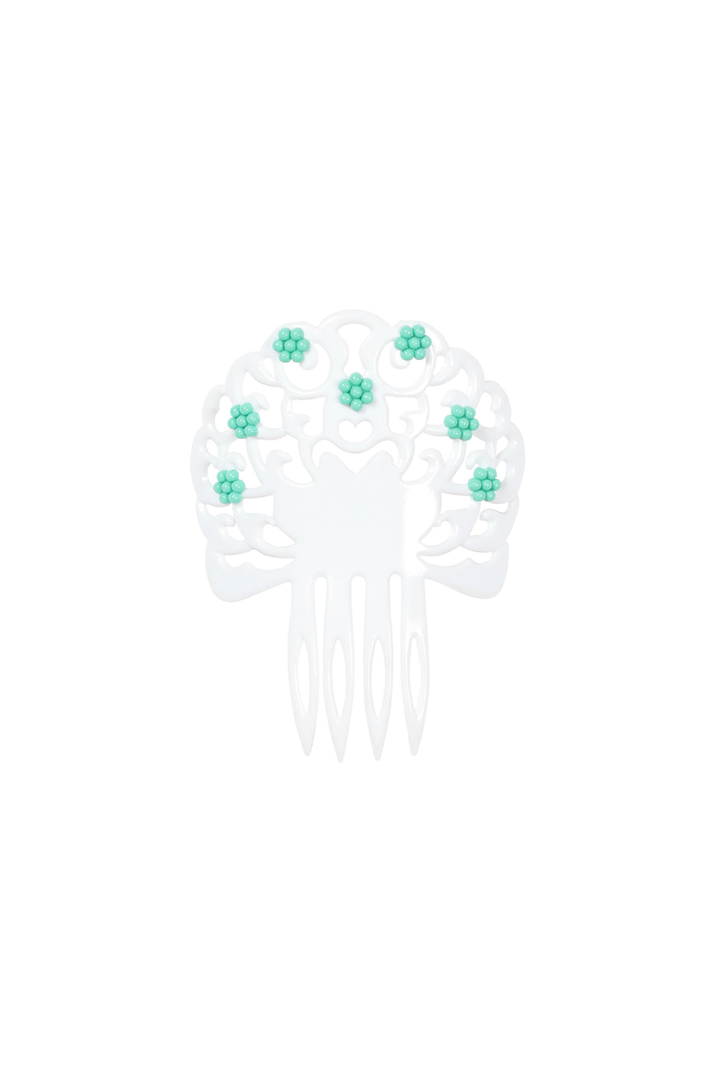 White Hair Comb with Coloured Floral Details