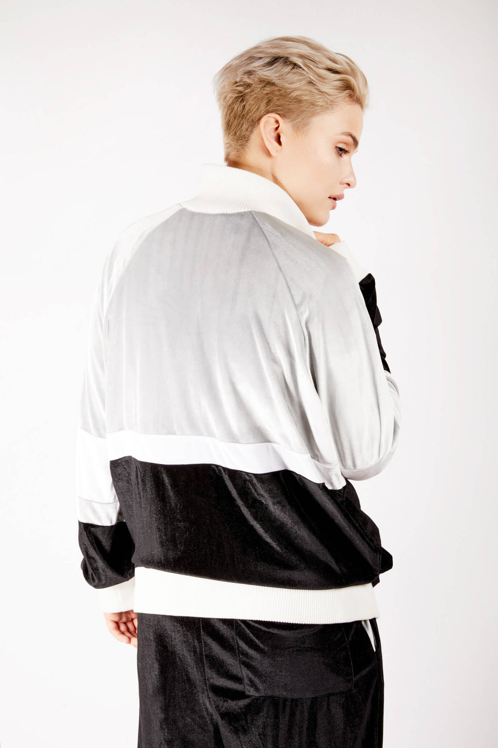 Adrian Schachter Grey and Black Velvet Tracksuit Jacket-L