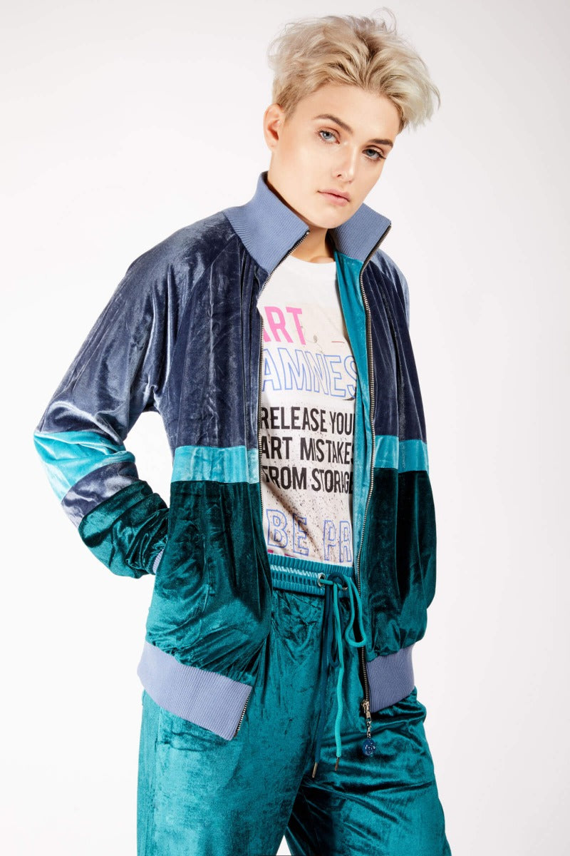 Adrian Schachter Green and Blue Velvet Tracksuit Jacket-L