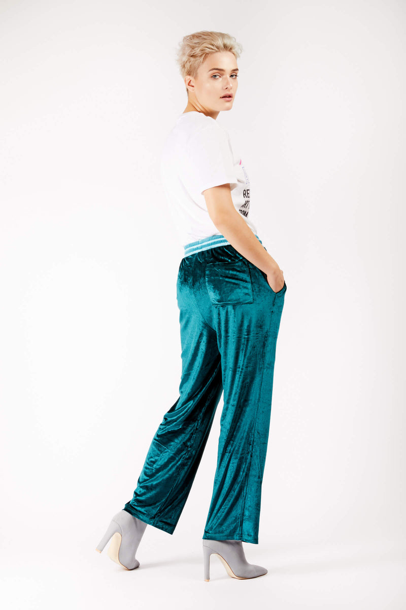Adrian Unisex Green Velour Tracksuit Trousers