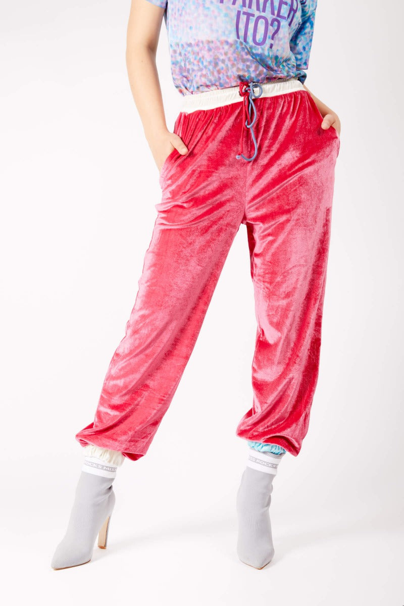 Adrian Schachter Raspberry Pink Velvet Tracksuit Trousers-L